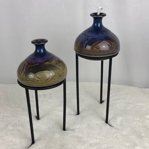 Ceramic Candle Oil Lamps on Black Iron Stands